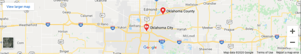 Google map showing Diamond In The Ruff Mobile Pet Spa's Grooming area of Edmond, Nichols Hills and NW Oklahoma City Oklahoma
